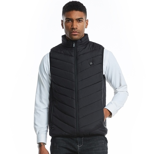 Fashion Men Electric Heated Vest Heating Waistcoat Padded Thermal Warm Outdoor Jackets Winter USB Heaters