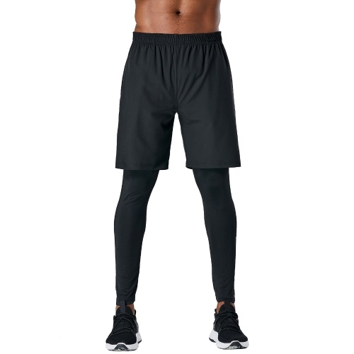 Men Sports Pants 2-in-1 Elastic Quick-dry Pockets Breathable Running Tights Workout Athletic Leggings