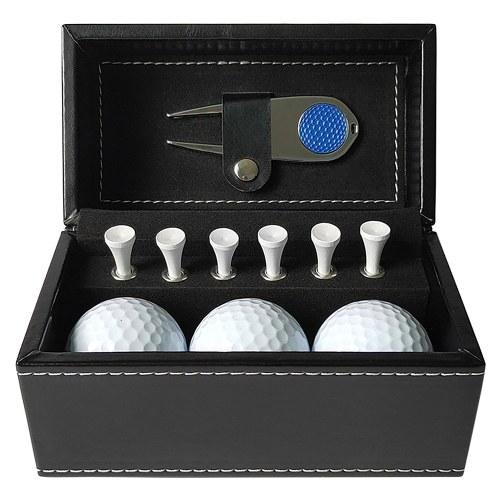 11 PCS Golf Gift Set with 6 Golf Tees 3 Golf Balls Divot Repair Tool Leather Box Set Golf Trainning Accessories