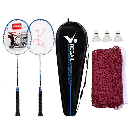 2 Player Badminton Racquets Set with 3 Shuttlecocks Carrying Bag and Badminton Net for Family Recreation Games