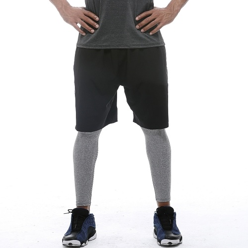 Men Sport Shorts Fitness Running Quick-Dry Breathable Sports Wear Elastic Waist Zipper Pockets Loose Fit Basketball Workout Shorts
