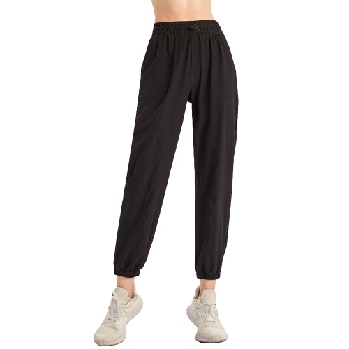 Women Sports Pants Solid Color Elastic High Waist Drawstring Pocket Loose Breathable Running Yoga Gym Trousers