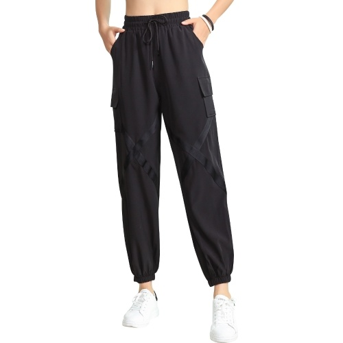 Women Baggy Jogger Pants Elastic Moisture-wicking Quick-dry Criss-Cross Straps Pocket Harem Cargo Pants Yoga Running Workout Sports Pants
