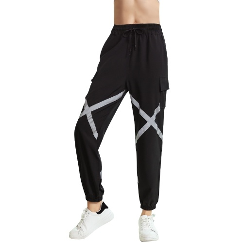Women Baggy Jogger Pants Elastic Moisture-wicking Quick-dry Criss-Cross Straps Pocket Harem Cargo Pants Yoga Running Workout Sports Pants