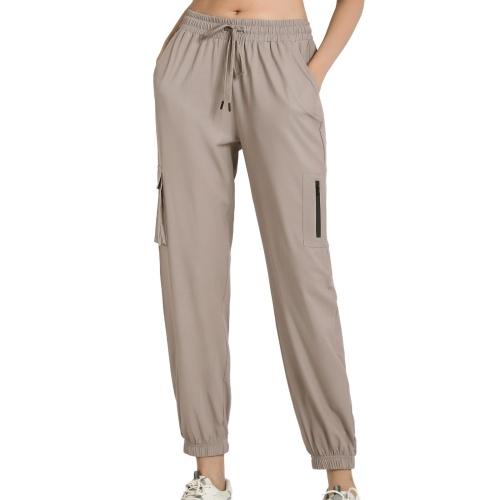 Calças femininas largas Cargo Bolsos com cordão elástico de secagem rápida Calças de ginástica para corrida Calças de ginástica para ioga