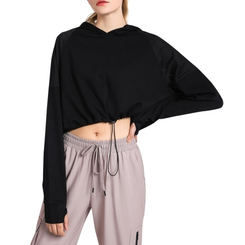 Women's Hoodie Crop Tops with Thumb Holes Drawstring Long Sleeve Sweatshirt Pullover for Sports Casual Tops Autumn