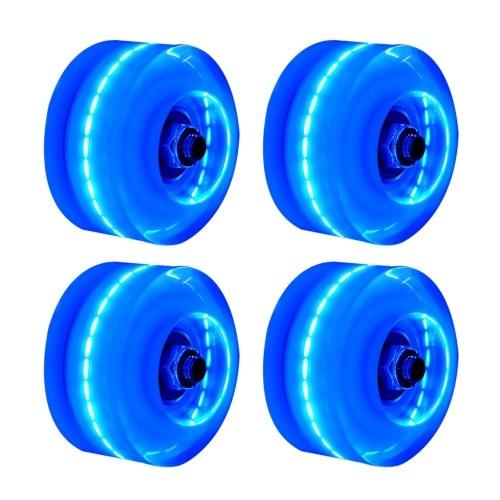 Zweireihige Rutschschuhe Light Wheel Vierrad Rollschuh Flash Wheel Skates Roller 4PC Zweireihige Rollschuhe Zubehör