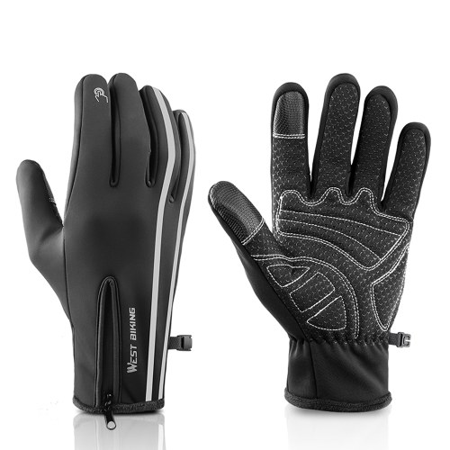 WEST BIKING Sport Gloves Winter Thermal Fleece Gloves Touch Screen Gloves MTB Cycling Equipment Image