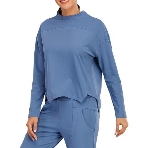 Moletom feminino com decote em O, manga comprida, bainha assimétrica, corrida, fitness, ginásio, roupa desportiva, maciço, solto