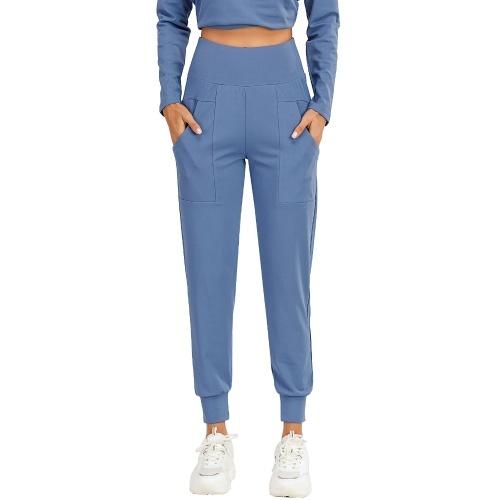 Calças esportivas femininas de cor sólida com bolso de cintura alta de secagem rápida e que eliminam a umidade.