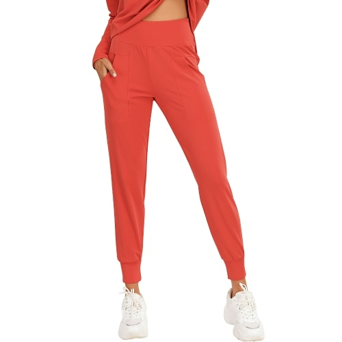 Women Sports Pants Solid Color High Waist Pocket Quick Dry Moisture-wicking Breathable Running Fitness Trousers Sportswear