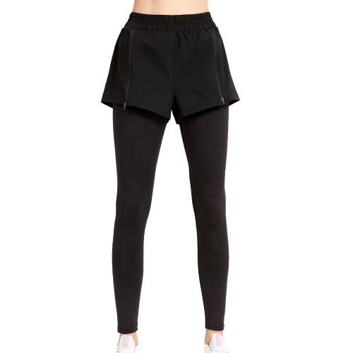 Женские леггинсы 2-в-1, эластичная талия, регулируемая молния, быстросохнущие дышащие беговые колготки, спортивные штаны для йоги, компрессионные тренировки