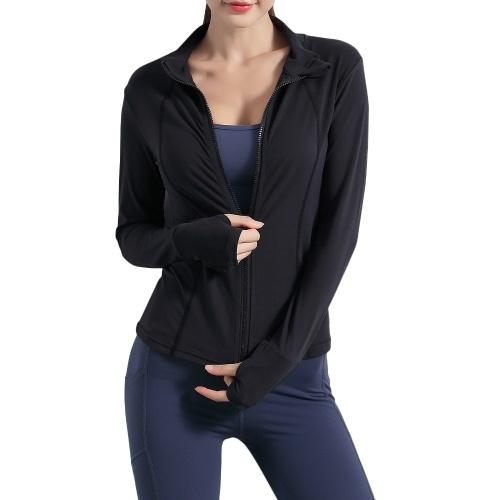 Женские спортивные куртки с воротником-стойкой, толстовка на молнии с отверстиями для большого пальца, дышащая, для бега, фитнеса, йоги, спортивная одежда, однотонные, приталенные топы