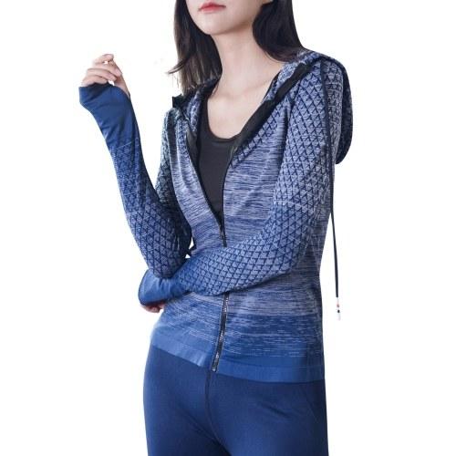 Women Full Zip Track Jackets Hooded Raglan Long Sleeve Thumb Holes Lightweight Slim Running Workout Sport Sweatshirt Gym Activewear