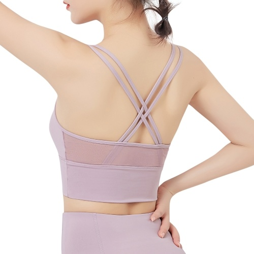 Woman Sports Bra Quick Dry Mesh Splicing Push-up Shockproof Padded Crop-Top Strappy Tank-Top Underwear Yoga Fitness Running