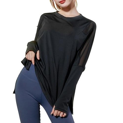 Camisa esportiva feminina com gola O, malha de manga comprida emenda respirável de secagem rápida de secagem rápida ginásio para ioga de corrida