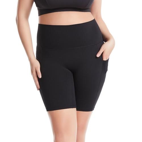 Calças femininas de ioga com bolsos cintura alta Leggings desportivos Calças de fitness Treino de corrida Ciclismo Skinny Bodycon Meia calça Shorts para academias em casa