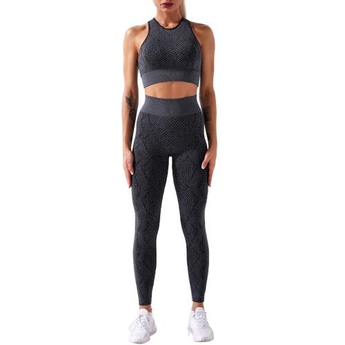 Women Yoga Suit Snake Pattern Quick Dry Seamless High Waist Legging with Stretch Sports Bra Workout Sportswear