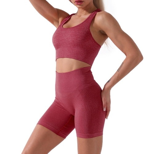 Conjunto de sutiã e shorts esportivos femininos para ciclismo leggings de ioga Hollow Out Racer Tops traseiros Calças de cintura alta para academias em casa ruas 2 unidades