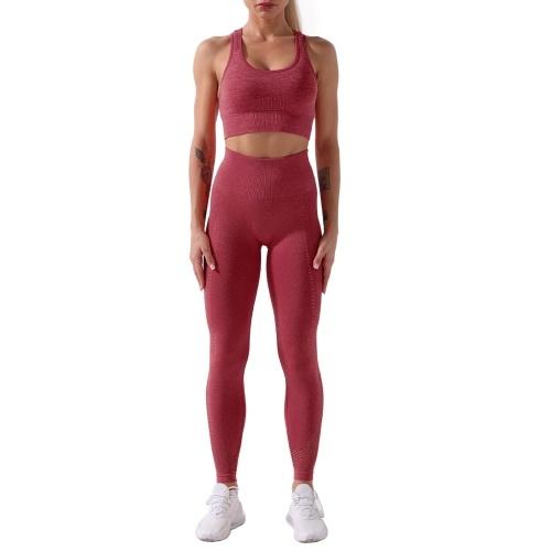 Frauen Sport BH und Leggings Set Radfahren Yoga Hosen Aushöhlen Racer Back Hohe Taille für Gym Home Streets 2Pcs