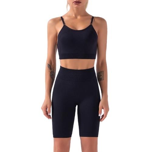 Damen Sport BH und Shorts Set 2 Stück verstellbare Spaghetti gepolsterte BH High Waist Shorts Sportswear für Gym Home