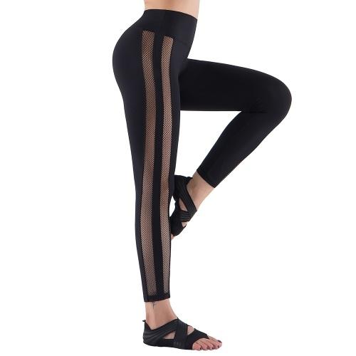 Mesh Yoga Leggings Mulheres Calças de Ioga Cintura Alta Calças de Ioga Controle de Barriga Ioga Alongamento e Exercícios Leggings de Ioga