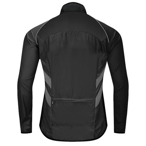 Men Cycling Jacket Windproof Reflective Long Sleeve Biking Jersey Bike Jacket for Riding Running Jogging Image