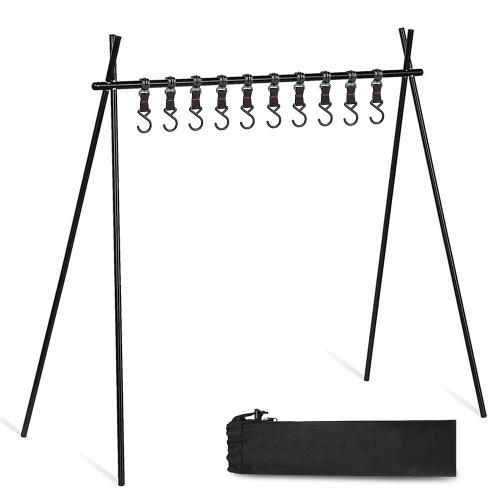 Rack para acampamento ao ar livre sólido Rack para panelas multifuncionais Rack dobrável em liga de alumínio pendurado com 10 ganchos Acessório portátil para acampamento