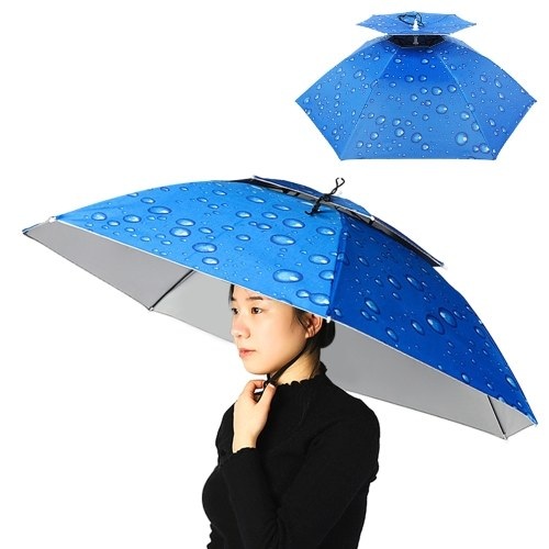 Doppellagiger Regenschirmhut Frauen Männer Faltbare Sonnenregenkappe mit verstellbarem Kopfband zum Angeln Camping Wandern