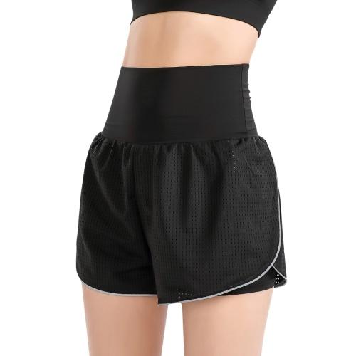 Calções femininos 2 em 1 para ioga cintura alta cintura larga tecido respirável para corrida dança fitness calções desportivos