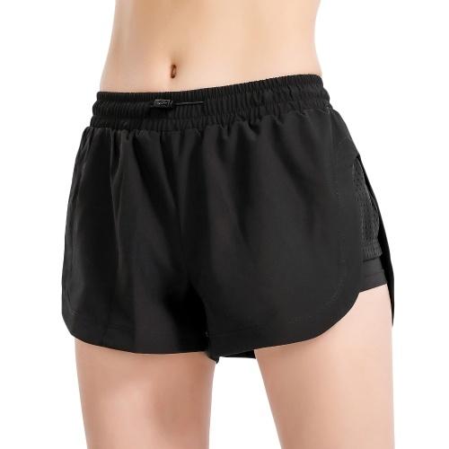 Calças esportivas femininas 2 em 1 com malha elástica cintura de secagem rápida Fitness Gym Workout calça comprida ioga