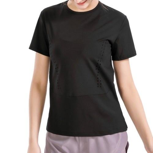Camiseta feminina de ioga com decote em O de manga curta com divisão bainha oca para fora respirável elástico sólido solto para corrida fitness ginásio esportivo