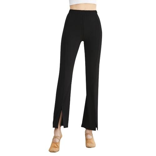Pantalons de yoga pour femmes Couleur unie Taille haute Pantalon évasé fendu Extensible Respirant Running Fitness Leggings Pantalons