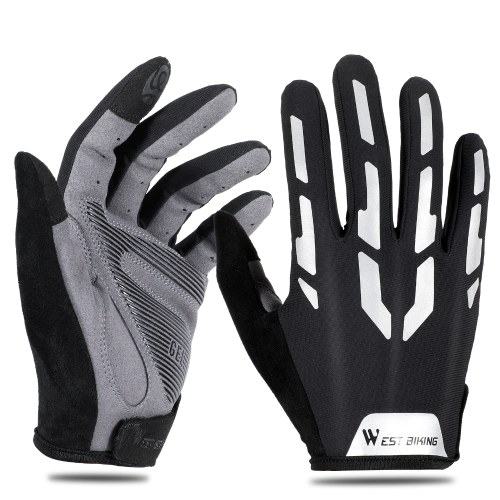 WEST BIKING Riding Reflect Light Glove Bicycle Long Finger Shock Absorbent Breathable Glove Cycling Glove Road Bicycle Glove Image