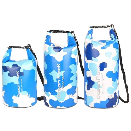 5L/10L/15L Waterproof Dry Bag Roll Up Dry Compression Sack Large Capacity Bucket Bag For Camping Drifting Swimming