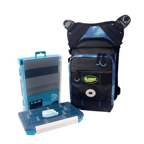 Fishing Tackle Bag Single Shoulder Fishing Bag Crossbody Pack Fishing Gear Waist Bag with 2 Bait Boxes LED Warning Light