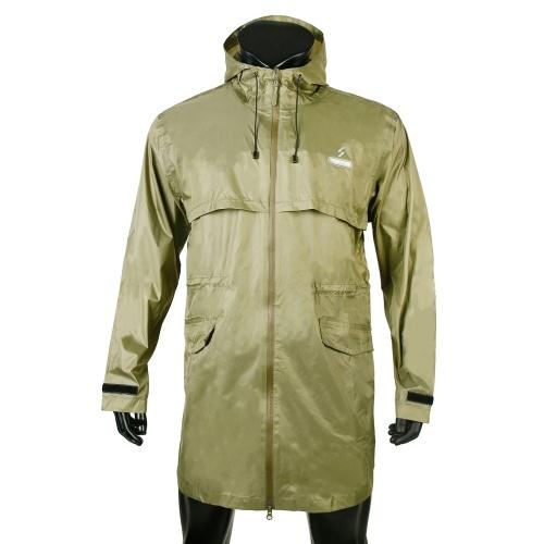 Men Long Waterproof Windproof Hooded Rain Jacket MTB Bicycle Cycling Rain Jacket...