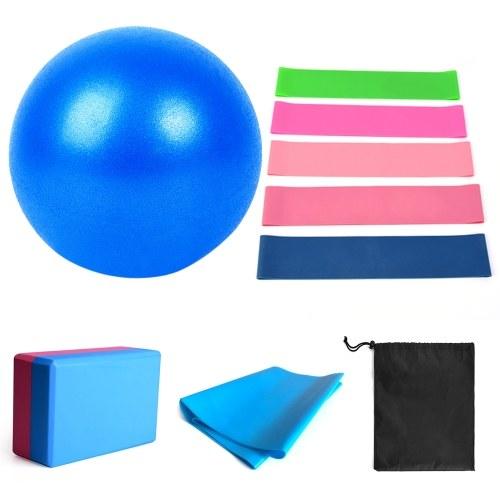 11 pièces ensemble de boule de Yoga avec bandes de résistance de bloc de Yoga Fitness étirement sangle Yoga Pilates équipement