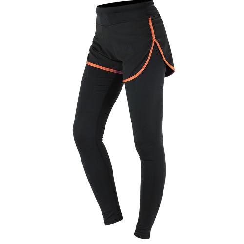 ARSUXEO 女性のジム スポーツ ヨガ レギンス偽の 2 つの部分スリム全長パンツ