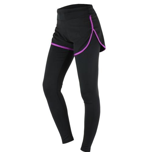 ARSUXEO palestra Sport Yoga Leggings donna falso due pezzo sottile piena lunghezza pantaloni
