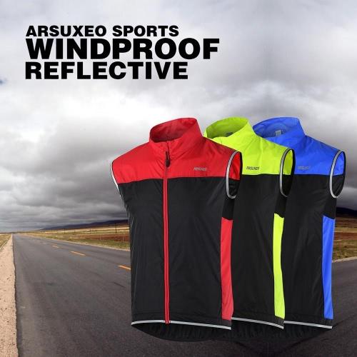 ARSUXEO capa sin mangas ligera ultrafina chaqueta de correr Ciclismo bicicleta chaleco a prueba de viento