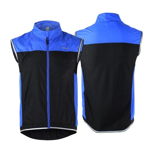 ARSUXEO ultrasottile leggera senza maniche cappotto giacca in esecuzione Ciclismo biciclette Gilet antivento
