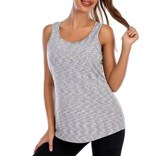 Women Sleeveless Round Neck Loose Fit Workout Tank Top with Built in Bra Activewear for Yoga Running Sports Fitness