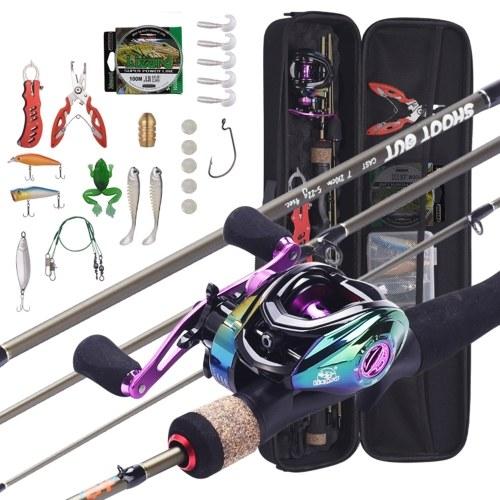 1.8m-2.1m Portable Fishing Rod + Baitcasting Reel Fishing Wheel Hard Soft Lure Line Fishing Tackle Bag Set Kit Portable Fishing Set for Travel Fishing Y22201A-L