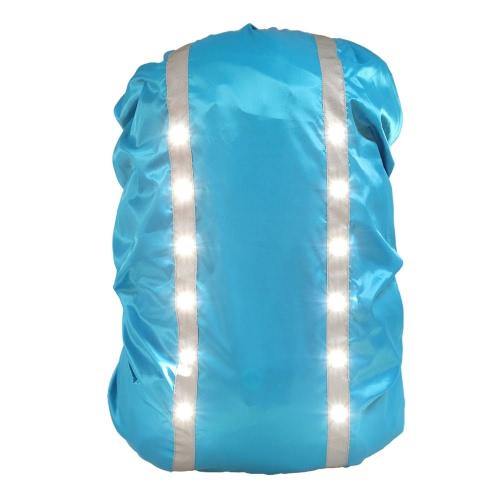 12LED Sicherheit Sicherheit wasserdichte Rucksack Bag Regenabdeckung 30-40L