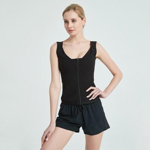 Women Waist Trainer Vest Zipper Workout Vest Body Shaper Suit Shirt Tank Top Slim Weight Loss Trainer Vest