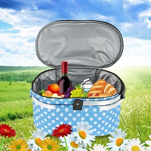 30L Foldable Picnic Basket Outdoor Insulated Storage Basket Shopping Basket Folding Aluminum Handle 46 * 25 * 24cm