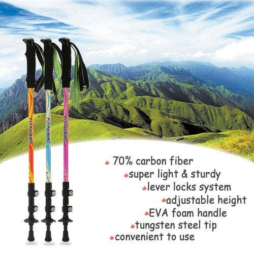 Углеродное волокно Легкий треккинг полюс Регулируемая Телескопическая Туризм Ходьба Раздел Стик 3