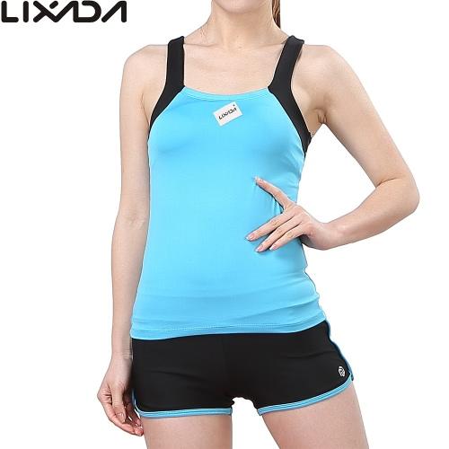 Lixada Frauen ärmelBreath Yoga Set Sports Singlet Top Bra + Shorts für Fitness Gym Lauf