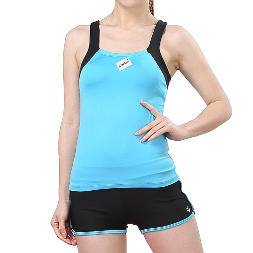 Lixada femmes sans manches Yoga Respirant Set Sport Singlet Top Bra + Shorts pour Running Fitness Gym